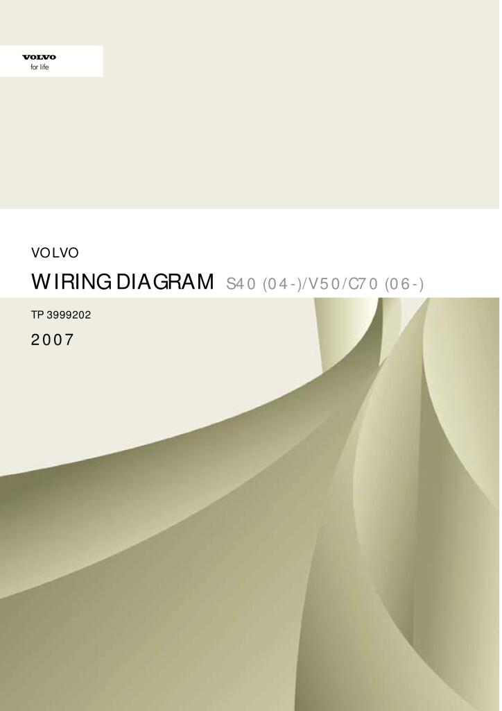 2007 Volvo S40 V50 C70 Wiring Diagram Service Manual Pdf