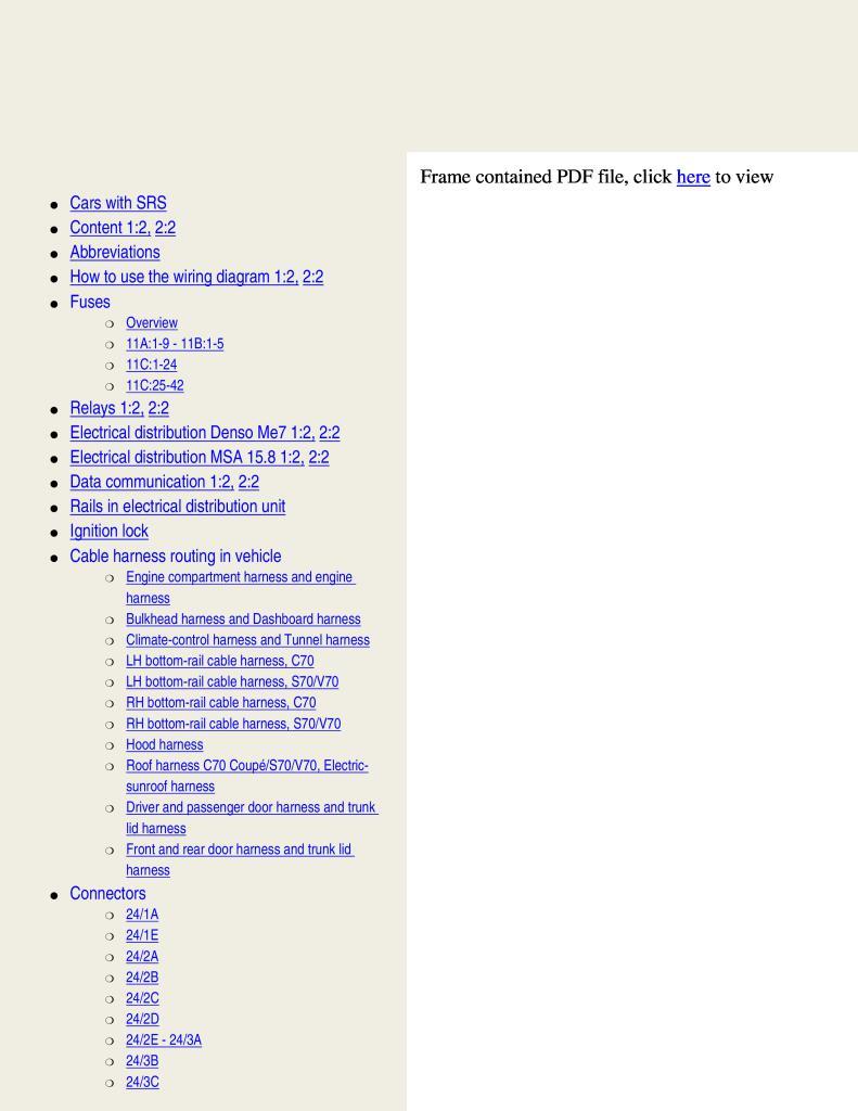 2000 Volvo C70 S70 V70 Wiring Diagrams Service Manual Pdf